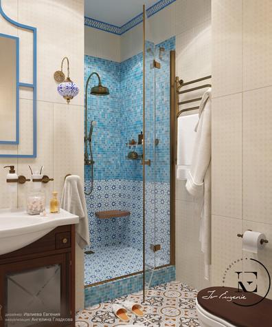Квартира. ванная из проекта Восток и Средиземноморье в ЖК Мишино, фото №93852