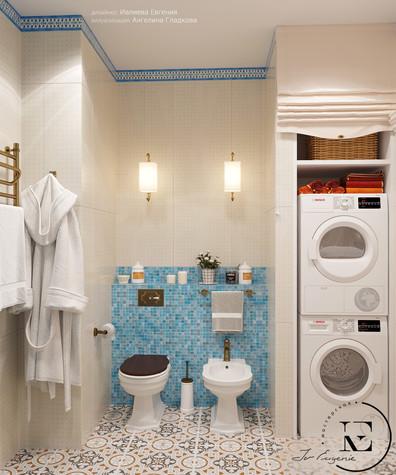 Квартира. ванная из проекта Восток и Средиземноморье в ЖК Мишино, фото №93853