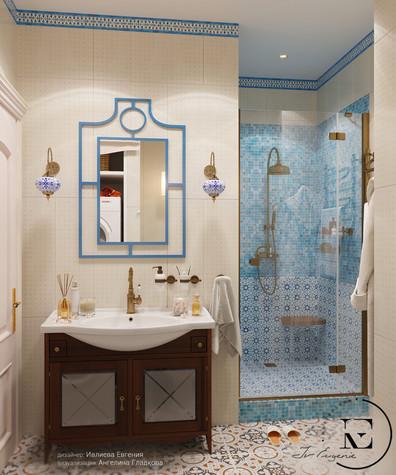 Квартира. ванная из проекта Восток и Средиземноморье в ЖК Мишино, фото №93854
