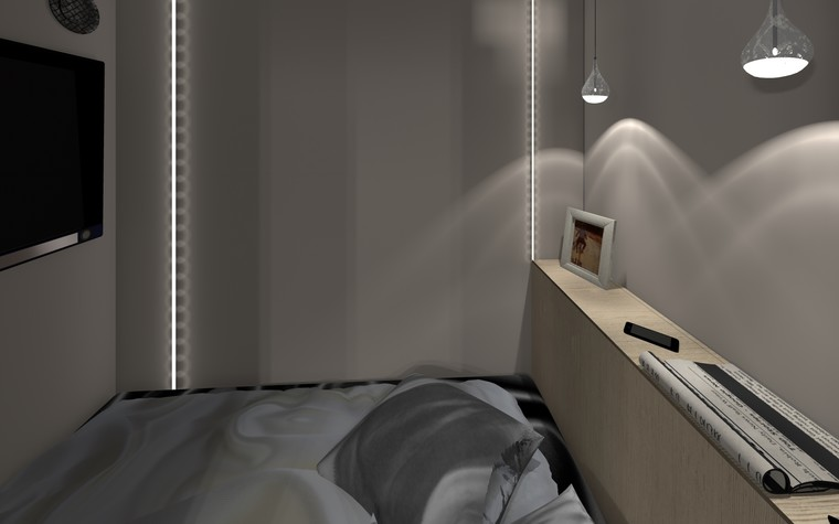 Квартира. спальня из проекта ЖК Панорама лофт,рок и любовь, фото №94592