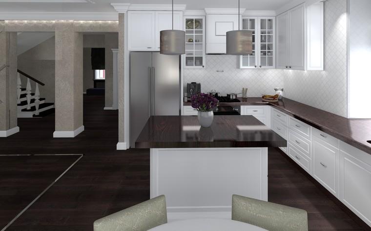 Квартира. кухня из проекта Белый росы Современная классика, фото №94701