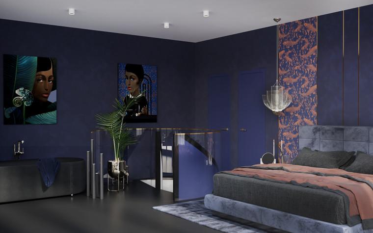 Квартира. спальня из проекта Квартира в ЖК 5 Звезд, фото №95118