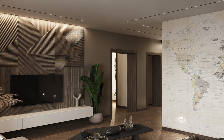 Квартира. гостиная из проекта Современная квартира для молодой семьи, фото №95449