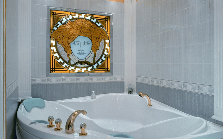<p>Автор проекта: Ирина Ивашкова</p> <p>Какое симпатичное ар-нуво! Закругленные, плавные линии угловой <a href=http://www.360.ru/Catalog/vannye/vanny/vanny-s-gidromassazhem/cygynnie-vanni-djakyzi/>ванны</a> его дополняют.</p>