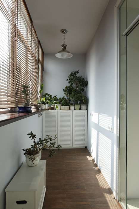 <p>Автор проекта: дизайн-студия Selva-style.&nbsp;</p> <p>Здесь все просто: жалюзи на окнах, жестяная дачная лампа под потолком, обилие комнатных растений в горшках.</p>