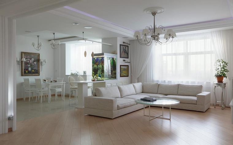 <p>Автор: Сергей Петров&nbsp;</p> <p>Для опенспейса белый цвет - находка. Белая гостиная легко и просто продолжена белой столовой и кухней. Этим зонам белый цвет, что называется, к лицу.</p>