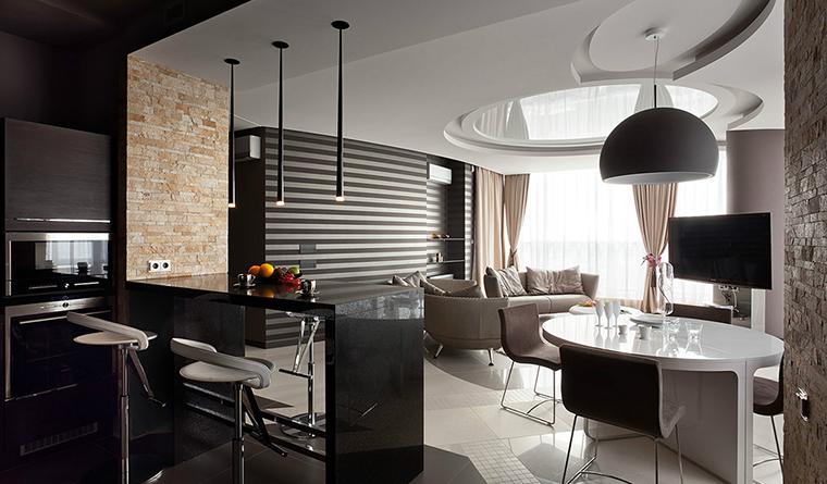 Дизайн гостиной с эркером