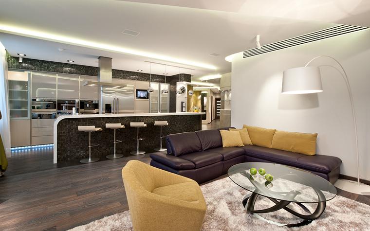 <p>Авторы проекта:  дизайн-студия &laquo;АвКубе&raquo;.</p> <p>В квартире-студии удачно работает барная стойка, которая визуально отделяет зону кухни от зоны гостиной.</p>