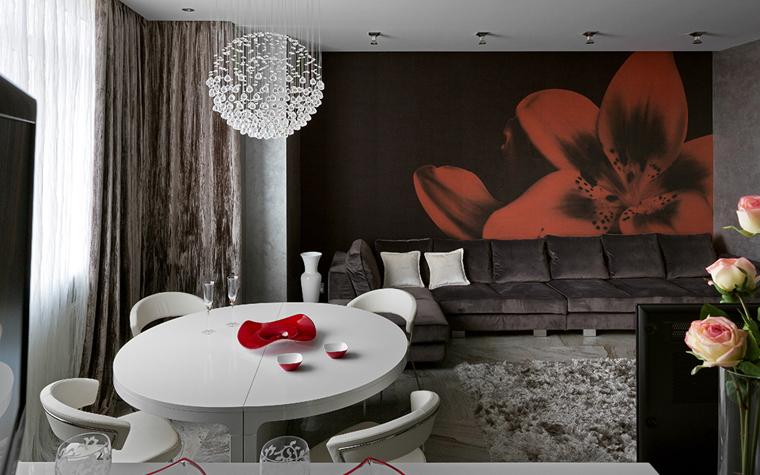 <p>Автор проекта: Оксана Брагина.&nbsp;</p> <p>Фотообои с красным цветком в полстены&nbsp; отлично заменят собой любое изобразительное искусство и станут ярким акцентом в монохромной гостиной.</p>