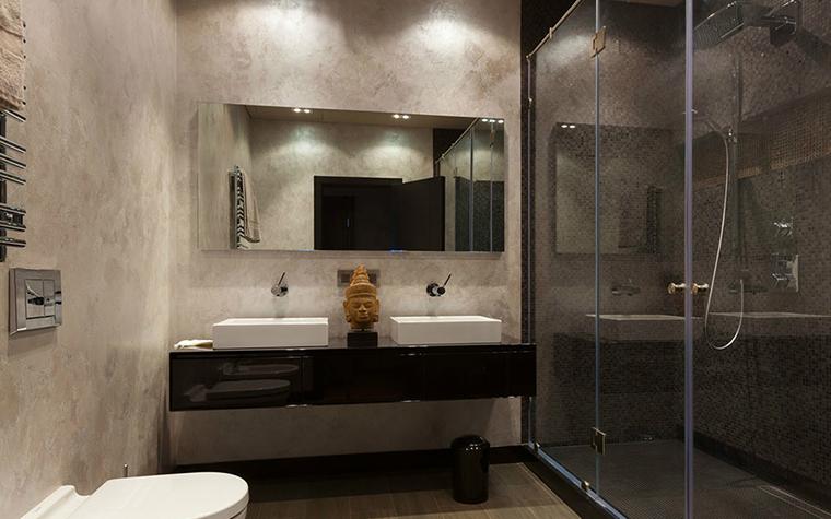 <p>Автор проекта: Style Selva-style</p> <p>Бетон и стекло - хорошее, стильное сочетание для душевой. </p>