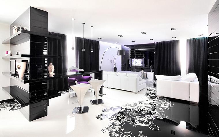 <p>Автор проекта: студия дизайна Geometrix. Фотограф: Зинон Разутдинов.&nbsp;</p> <p>Геометрия этого черно-белого глянцевого интерьера гостиной ставит его в ряд &quot;современных интерьеров&quot;.</p>