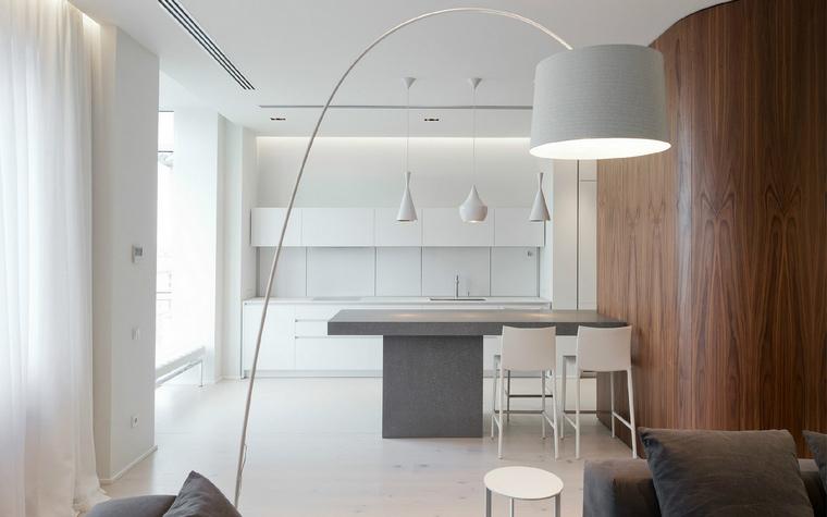 <p>Автор проекта: SL project</p> <p>В открытом пространстве общественной зоны белоснежная кухня частично отделена от серой гостиной с помощью полукруглой перегородки, которая отделана натуральным деревом красивого красно-коричневого цвета.</p>