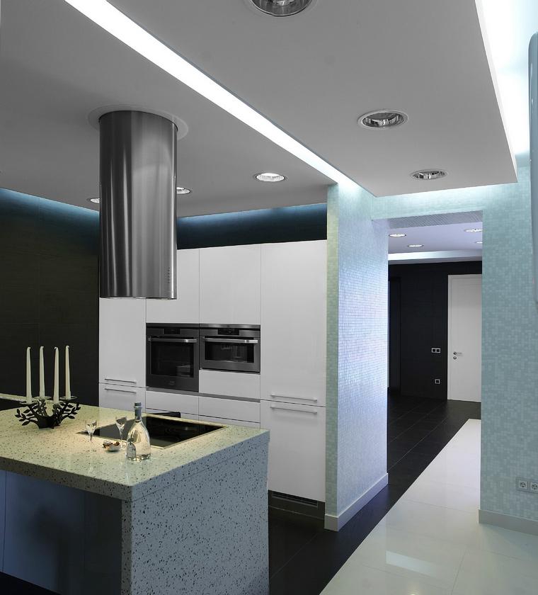 <p>Автор проекта: Сергей Мансуров</p> <p>В черно-белый модернистский интерьер вписать белую дверь - правильный ход!</p>