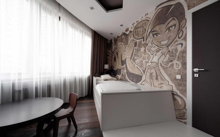 <p>Автор проекта: Владимир Малашонок<br /> Фотограф: Хроленок Андрей</p> <p>Одна из стен этой минималистской спальни выполнена в стиле японского аниме, так любимого детьми всех стран мира!</p>