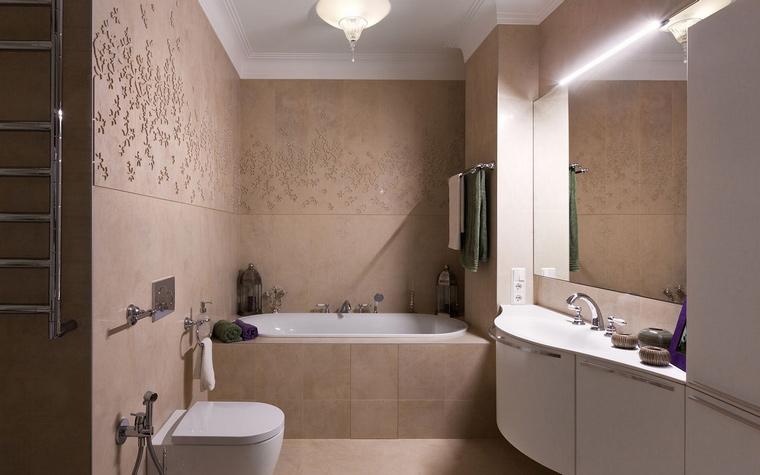 <p>Автор проекта: Алеся Сахно</p> <p>Большое <a href=http://www.360.ru/Catalog/vannye/aksessuary-dlya-vannoj/zerkala-dlia-vannoi/>зеркало</a> в небольшой ванной способно увеличить ее пространство вдвое!</p>