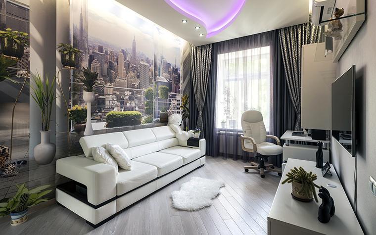 <p>Автор проекта: Ирина Райт</p> <p>Эффектная мягкая и корпусная мебель в сочетании с фото-декором удачно создают в интерьере модный урбанистический образ.&nbsp;</p>