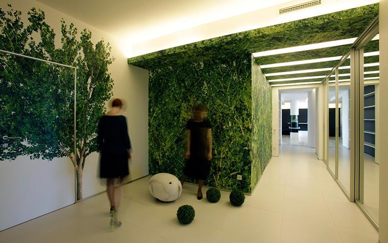 <p>Автор проекта: Александра Казаковцева,   МК-интерио, Мария Махонина</p> <p>Просторная прихожая-холл оформлена в соответствии с актуальными трендами. Стены декорированы модными принтами с изображением деревьев и зеленой травы, буйная зелень отражается в широких зеркалах, при этом мебель отсутствует. Очень экологично и пейзажно!</p>
