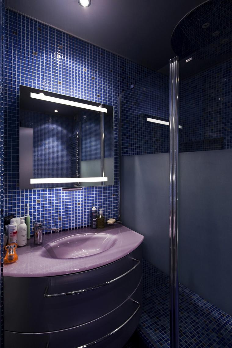 <p>Автор проекта:   Арх-Грани</p> <p>Интерьер душевой комнаты не обязательно должен быть стерильно белым и напоминать больничные санузлы. Всё это ушло в далёкое прошлое. Цветовая гамма может быть самой разнообразной. Кстати синий с фиолетовым - отличный выбор! </p>