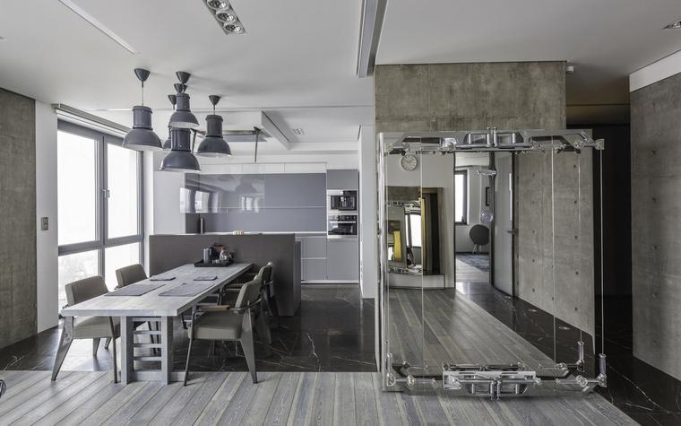 <p>Автор проекта:   KarenMan architectural solutions</p> <p>Кухня в стиле лофт не обязательно должна быть из красного кирпича...</p>