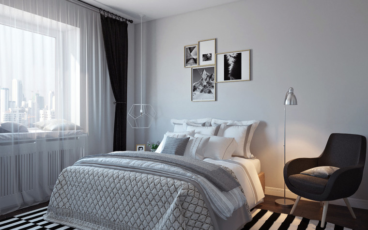 Квартира. спальня из проекта Квартира в скандинавском стиле, фото №75055
