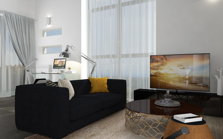 Квартира. гостиная из проекта В лучах южного солнца., фото №75612