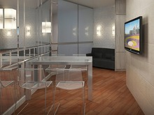Квартира «Малогабаритная 3-х комнатная квартира (57 кв. м.)», гостиная . Фото № 26612, автор Artscor Дизайн студия