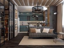 Квартира «Лофтовая однушка», гостиная . Фото № 26760, автор Новиков Андрей