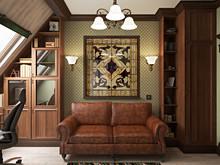 Квартира «Дизайн двухуровневой квартиры 157 кв.м. Мансарда для семьи с ребенком», кабинет . Фото № 26868, автор Соболев Павел