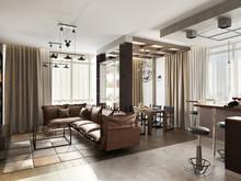 Квартира «Дизайн двухуровневой квартиры 170 кв.м. Soft Loft для молодой семьи», гостиная . Фото № 26889, автор Соболев Павел