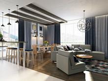 Квартира «Дизайн двухуровневой квартиры 170 кв.м. Северное сияние», гостиная . Фото № 26974, автор Соболев Павел