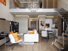 Квартира «2-х уровневые апартаменты в ЖК TriBeCa», гостиная . Фото № 27115, автор Жданов Евгений