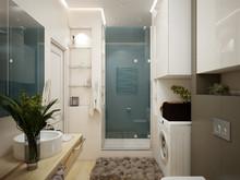 Квартира «Дизайн проект двухкомнатной квартиры, скандинавские мотивы», ванная . Фото № 27321, автор Хачатрян Дарья