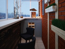 Квартира «Дизайн проект двухкомнатной квартиры, скандинавские мотивы», веранда лоджия . Фото № 27319, автор Хачатрян Дарья