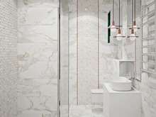 Квартира «Современный дизайн двухкомнатной квартиры для молодой девушки-студентки», ванная . Фото № 27435, автор GM-Interior GM-interior