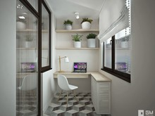 Квартира «Светлый интерьер квартиры-студии с компактной планировкой», веранда лоджия . Фото № 27463, автор GM-Interior GM-interior
