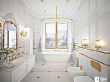 Квартира «Дизайн квартиры в классическом стиле на Остоженке», ванная . Фото № 27512, автор GM-Interior GM-interior