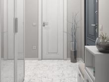 Квартира «Дизайн двухкомнатной квартиры в серо-голубой гамме», прихожая . Фото № 27554, автор GM-Interior