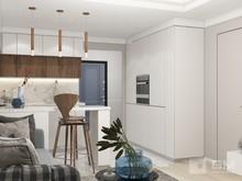 Квартира «Дизайн двухкомнатной квартиры в серо-голубой гамме», кухня . Фото № 27549, автор GM-Interior