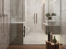 Квартира «Дизайн двухкомнатной квартиры в серо-голубой гамме», ванная . Фото № 27551, автор GM-Interior GM-interior