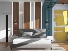 Квартира «Дизайн-проект двухкомнатной квартиры в ЖК Евросити», спальня . Фото № 28050, автор Дуквен Ольга
