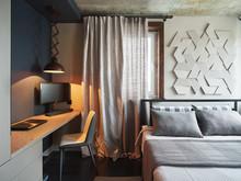 Квартира «СОЧНЫЙ ЛОФТ», спальня . Фото № 28055, автор Дорофеева Евгения