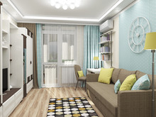 Квартира «Двухкомнатная квартира в пастельных тонах», кабинет . Фото № 28060, автор Полищук Кристина