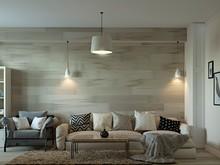 Квартира «Дизайн-проект квартиры в современном стиле с ламинатом на стене», гостиная . Фото № 28066, автор Дуквен Ольга