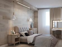 Квартира «Дизайн-проект квартиры в современном стиле с ламинатом на стене», спальня . Фото № 28067, автор Дуквен Ольга