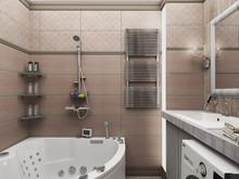 Квартира «Дизайн-проект квартиры в современном стиле с ламинатом на стене», ванная . Фото № 28068, автор Дуквен Ольга