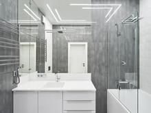 Квартира «50 оттенков серого. Квартира 150 м кв.», ванная . Фото № 28080, автор Дорофеева Евгения
