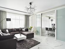 Квартира «50 оттенков серого. Квартира 150 м кв.», гостиная . Фото № 28076, автор Дорофеева Евгения