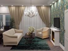 Квартира «Классический интерьер с яркими акцентами», гостиная . Фото № 28115, автор Сафронова Юлия