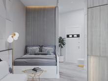 Квартира «Студия для молодой девушки в ЖК Пётр 1», спальня . Фото № 28539, автор Бойцова Ольга