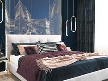 Квартира «Благородный синий в квартире г. Казань.», спальня . Фото № 28572, автор Гаязова Нелли